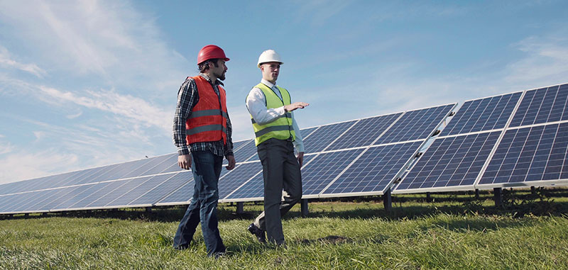 Solar workers discussing solar panels